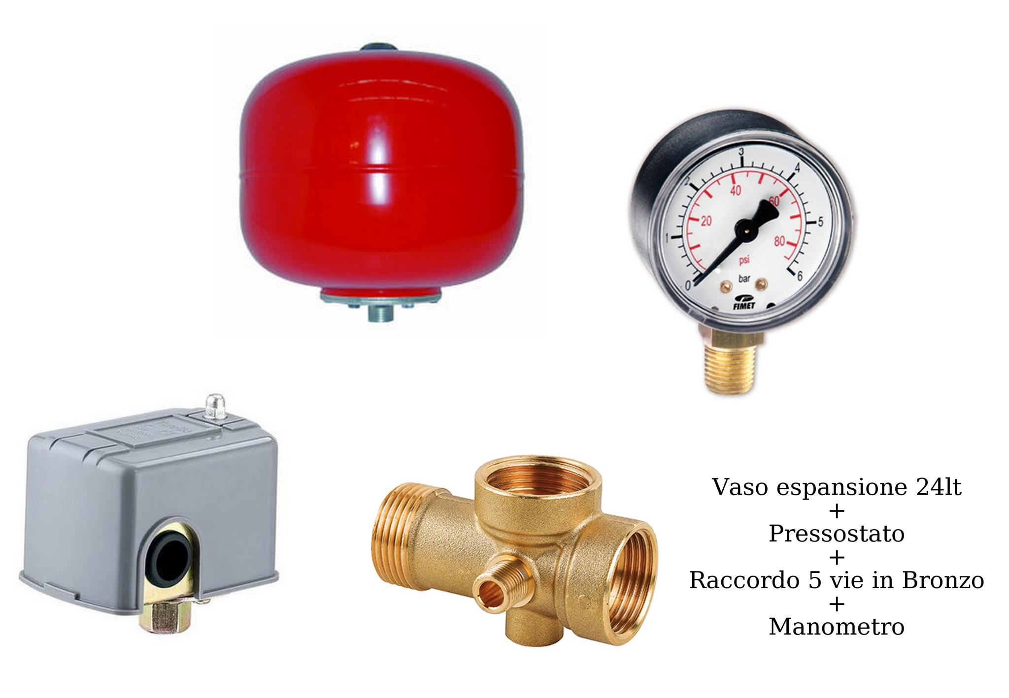 Kit autoclave vaso24lt manometro pressostato raccordo 5 vie - Autoclave per casa ...